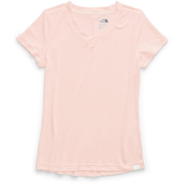 WOMEN'S HYPERLAYER FD SHORT SLEEVE V-NECK, PINK SALT HEATHER, hi-res