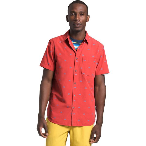 Men's Short-Sleeve Baytrail Jacq Shirt, SUNBAKED RED NORTH STAR CLIP JACQUARD, hi-res