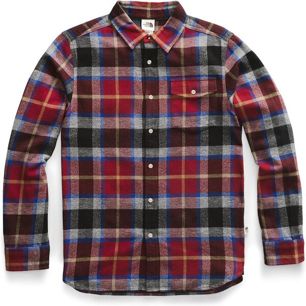 Men's Long-Sleeve Arroyo Flannel Shirt, CARDINAL RED SPEED WAGON PLAID, hi-res