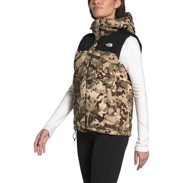 Women's Balham Down Vest, BURNT OLIVE GREEN DIGI TOPO PRINT, hi-res