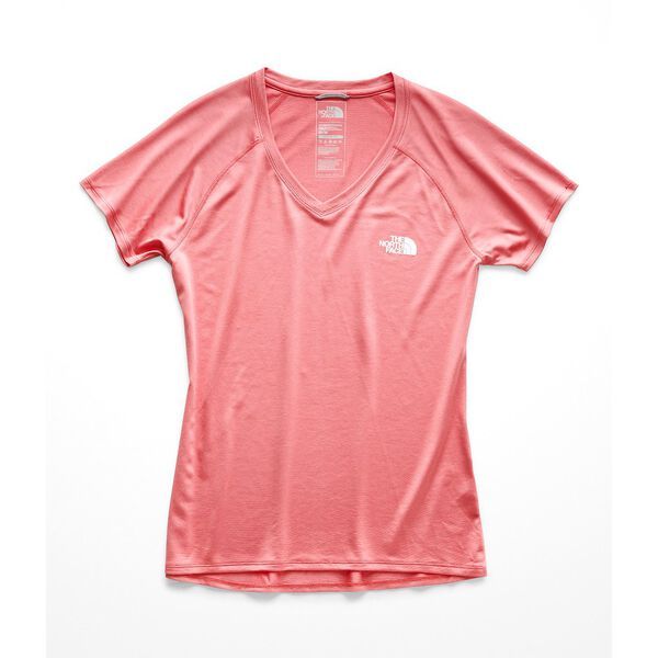 WOMEN'S SHORT-SLEEVE REAXION AMP V-NECK TEE, SPICED CORAL-TNF WHITE, hi-res