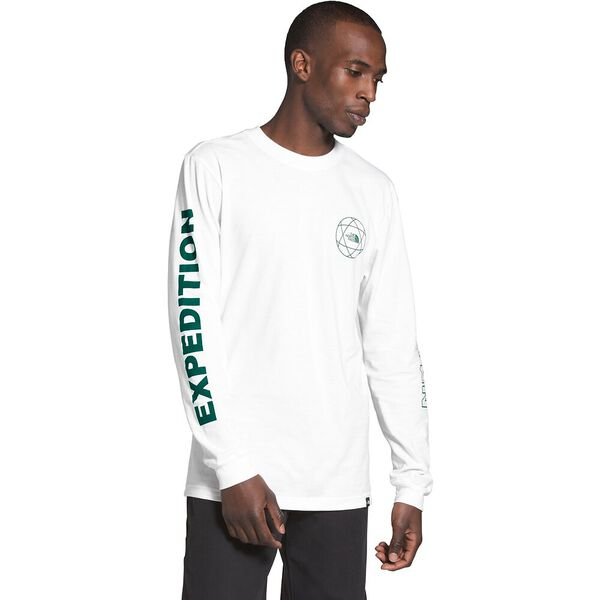 Men's Long-Sleeve Double Sleeve Graphic Tee, TNF WHITE/EVERGREEN, hi-res