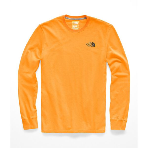 MEN'S L/S RED BOX HEAVYWEIGHT CREW, ZINNIA ORANGE/TNF BLACK, hi-res