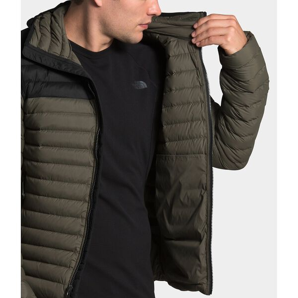 Men's Stretch Down Hoodie, NEW TAUPE GREEN/TNF BLACK, hi-res