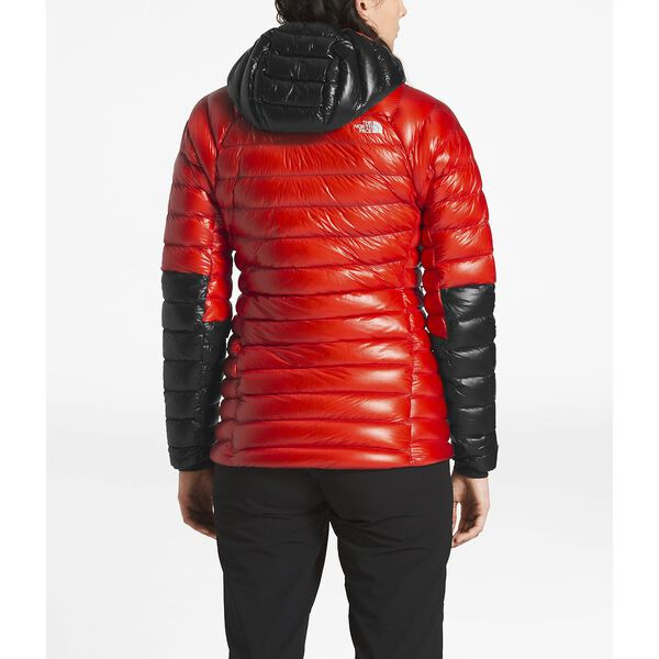 WOMEN'S SUMMIT L3 DOWN HOODIE, FIERY RED/TNF BLACK, hi-res