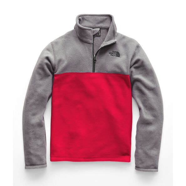 BOYS' GLACIER 1/4 ZIP, TNF RED/TNF MEDIUM GREY HEATHER, hi-res