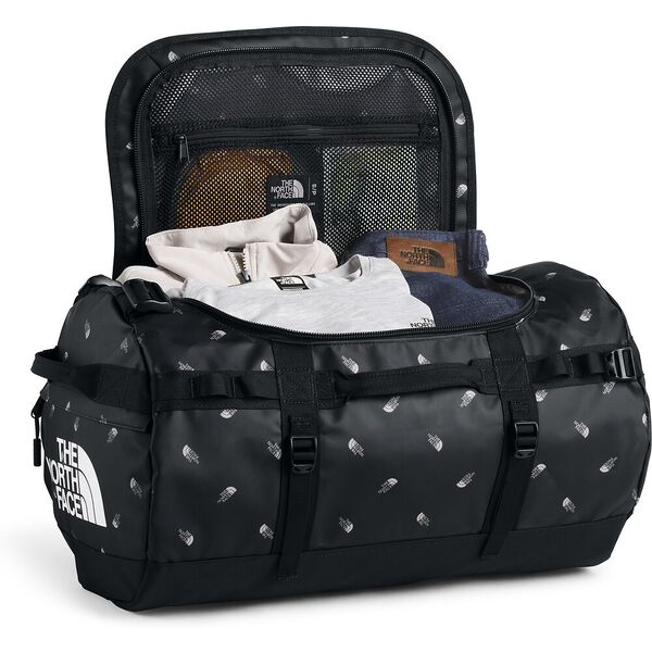 BASE CAMP DUFFEL - S, TNF BLACK TOSSED LOGO PRINT, hi-res