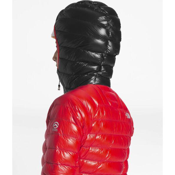 WOMEN'S SUMMIT L3 DOWN HOODIE, FIERY RED/TNF BLACK, hi-res