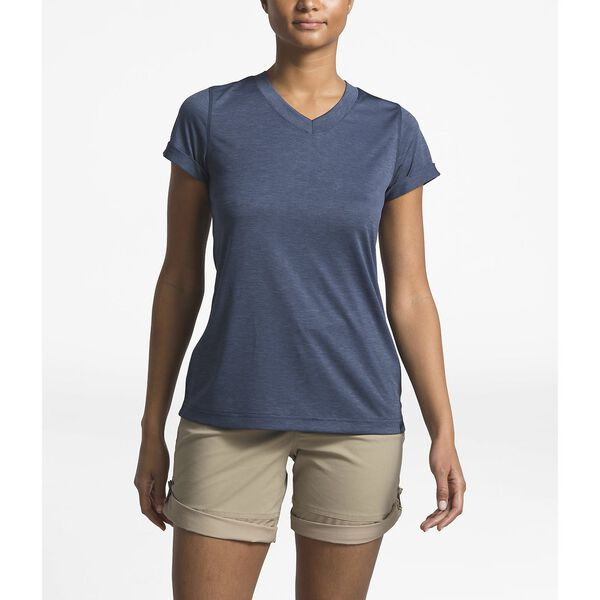 WOMEN'S HYPERLAYER FD SHORT SLEEVE V-NECK, URBAN NAVY HEATHER, hi-res