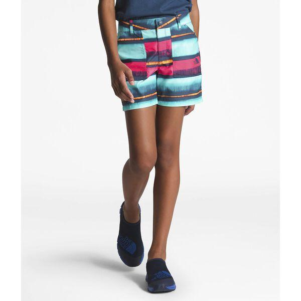 Girls' Amphibious Shorts, BLUE WING TEAL COASTAL STRIPE PRINT, hi-res