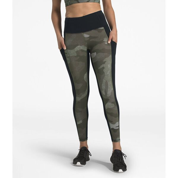WOMEN'S MOTIVATION POCKET 7/8 TIGHT, NEW TAUPE GREEN WAXED CAMO PRINT/TNF BLACK, hi-res