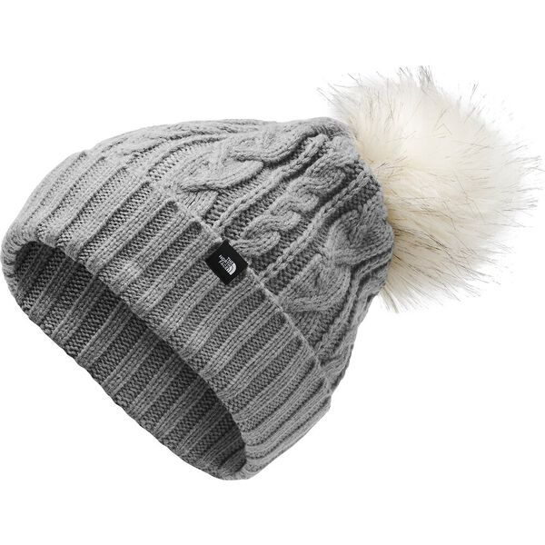 Women's Oh-Mega Fur Pom Beanie, TNF MEDIUM GREY HEATHER, hi-res