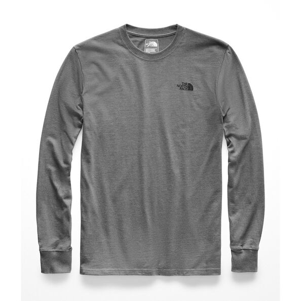 MEN'S L/S RED BOX HEAVYWEIGHT CREW, TNF MEDIUM GREY HEATHER/TNF BLACK, hi-res