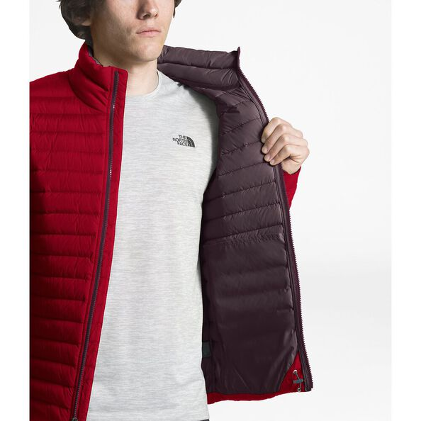 MEN'S STRETCH DOWN JACKET, RAGE RED/FIG BROWN, hi-res