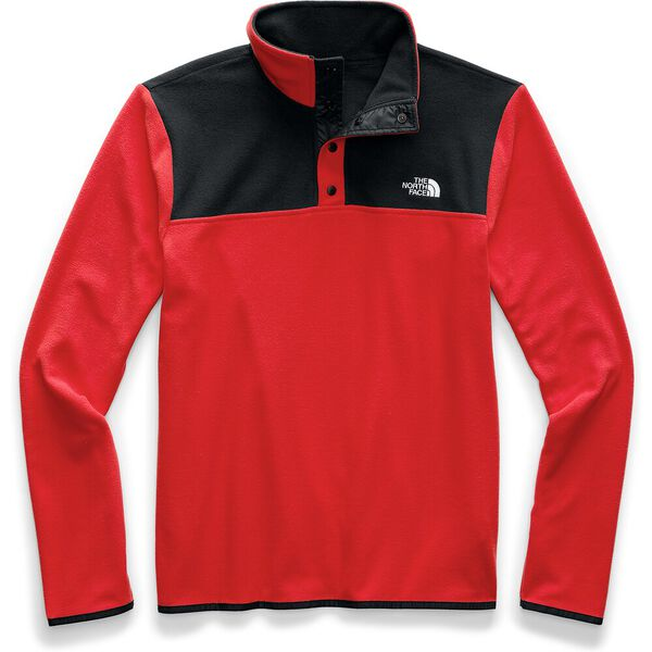 Men's TKA Glacier Snap-Neck Fleece, FIERY RED/TNF BLACK, hi-res