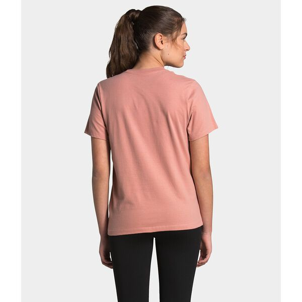 Women's Short-Sleeve Half Dome Cotton Tee, PINK CLAY/TNF BLACK, hi-res