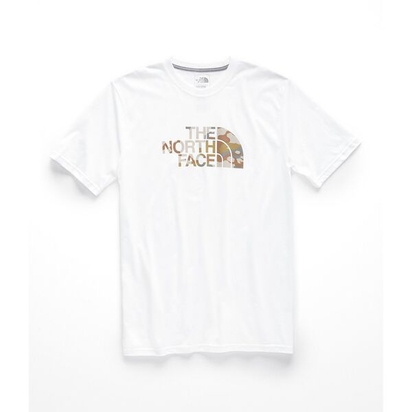 MEN' SHORT-SLEEVE HALF DOME TEE, TNF WHITE-MOAB KHAKI WOODCHIP CAMO DESERT PRINT, hi-res