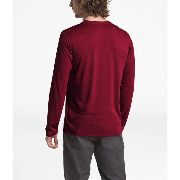 MEN'S HYPERLAYER FLASHDRY™ LONG-SLEEVE CREW, CARDINAL RED HEATHER, hi-res