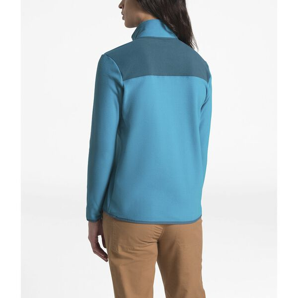 WOMEN'S TKA GLACIER SNAP-NECK FLEECE, BARRIER REEF BLUE/BLUE CORAL, hi-res